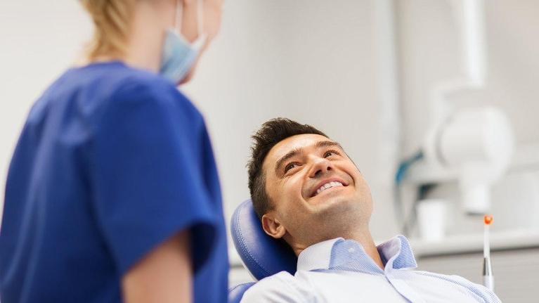 dental patient at checkup | dentist concord NH